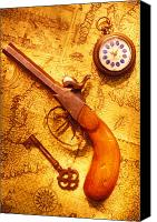 Maps Canvas Prints - Old gun on old map Canvas Print by Garry Gay
