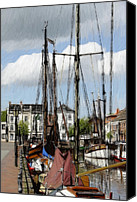 Expressionism Pastels Canvas Prints - Old Harbor Canvas Print by Stefan Kuhn