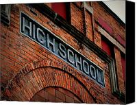 Potography Canvas Prints - Old High School Canvas Print by Perry Webster