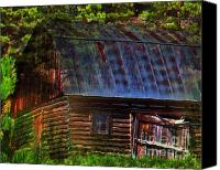 Impressionism Digital Art Canvas Prints - Old Horse Barn In The Pines Canvas Print by Terril Heilman