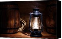 Oil Lamp Canvas Prints - Old Kerosene Lantern Canvas Print by Olivier Le Queinec