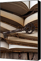 Reading Canvas Prints - Old key on books Canvas Print by Garry Gay