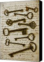 Writing Canvas Prints - Old keys on letter Canvas Print by Garry Gay