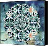 Spirituality Mixed Media Canvas Prints - Old Lace Mandala Canvas Print by Zeana Romanovna