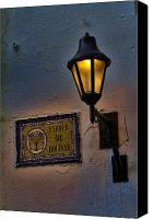Damp Canvas Prints - Old lamp on a colonial building in old Cartagena Colombia Canvas Print by David Smith
