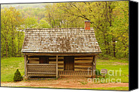 Log Cabin Art Canvas Prints - Old Log Cabin Canvas Print by J Jaiam