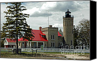 Old Chicago Water Tower Canvas Prints - Old Mackinac Point Lighthouse Canvas Print by LeeAnn McLaneGoetz McLaneGoetzStudioLLCcom