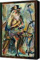 Old Pastels Canvas Prints - Old Man in the Chair Canvas Print by David Finley