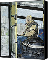 Urban Scenes Canvas Prints - Old Man on the Bus Canvas Print by Reb Frost