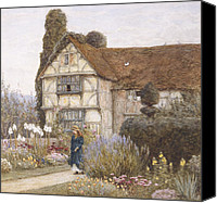 Manor Painting Canvas Prints - Old Manor House Canvas Print by Helen Allingham