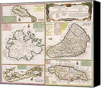 Geography Drawings Canvas Prints - Old Map of English Colonies in the Caribbean Canvas Print by German School