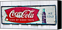 Susan Leggett Canvas Prints - Old Metal Coke Sign Canvas Print by Susan Leggett