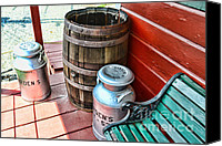 Rain Barrel Photo Canvas Prints - Old milk cans and rain barrel. Canvas Print by Paul Ward