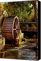 Feed Mill Canvas Prints - Old Mill Park Wheel Canvas Print by Robert Bales