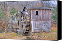 Arkansas Canvas Prints - Old Mill Water Wheel and Sluce Canvas Print by Douglas Barnett