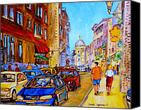Montreal Restaurants Canvas Prints - Old Montreal Canvas Print by Carole Spandau