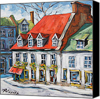 Prankearts Canvas Prints - Old Montreal Scene by Prankearts Canvas Print by Richard T Pranke