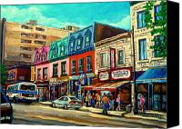 Montreal Restaurants Canvas Prints - Old Montreal Schwartzs Deli Plateau Montreal City Scenes Canvas Print by Carole Spandau