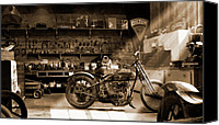 Wheels Canvas Prints - Old Motorcycle Shop Canvas Print by Mike McGlothlen