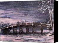 Minutemen Canvas Prints - Old North Bridge in Winter Canvas Print by Jack Skinner