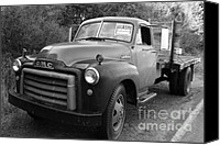 American Trucks Canvas Prints - Old Nostalgic American GMC Flatbed Truck . 7D9821 . Black and White Canvas Print by Wingsdomain Art and Photography