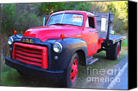 Old American Truck Canvas Prints - Old Nostalgic American GMC Flatbed Truck . 7D9821 . Photo Art Canvas Print by Wingsdomain Art and Photography