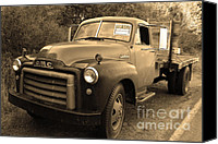Old American Truck Canvas Prints - Old Nostalgic American GMC Flatbed Truck . 7D9821 . Sepia Canvas Print by Wingsdomain Art and Photography