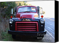 Old Trucks Canvas Prints - Old Nostalgic American GMC Flatbed Truck . 7D9823 Canvas Print by Wingsdomain Art and Photography
