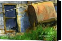 Junk Canvas Prints - old oil tank P.E.I. Canvas Print by Bob Salo