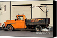 Old Trucks Canvas Prints - Old Orange American Chevy Chevrolet 3600 Truck . 7D12735 Canvas Print by Wingsdomain Art and Photography
