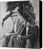Horse Drawings Canvas Prints - Old Pals Spancilhill Canvas Print by Tomas OMaoldomhnaigh