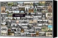 Town Pyrography Canvas Prints - Old Paris Collage Canvas Print by Janos Kovac