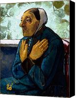 Sat Canvas Prints - Old Peasant Woman Canvas Print by Paula Modersohn-Becker
