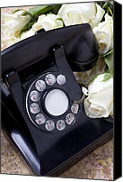 Phone Canvas Prints - Old phone and white roses Canvas Print by Garry Gay