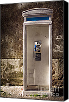 Vintage Telephone Canvas Prints - Old phonebooth Canvas Print by Carlos Caetano