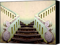 Yellow Building Canvas Prints - Old Portugese Stairway Canvas Print by Linda  Parker