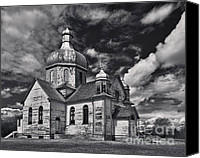Octagonal Canvas Prints - Old Prairie Church and Storm Front Canvas Print by Royce Howland