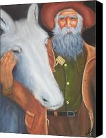 Portrait Canvas Prints - Old Prospector and Friend Canvas Print by Joni McPherson