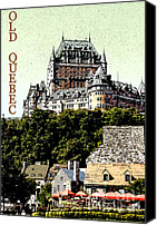 Old Town Digital Art Canvas Prints - Old Quebec Canvas Print by Linda  Parker