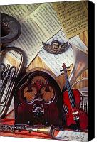 Tuba Canvas Prints - Old radio and music instruments Canvas Print by Garry Gay