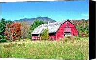 Cow Barn Canvas Prints - Old Red Barn In Vermont Canvas Print by James Steele