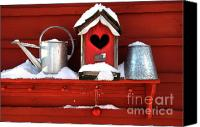 Old Wall Canvas Prints - Old red birdhouse Canvas Print by Sandra Cunningham
