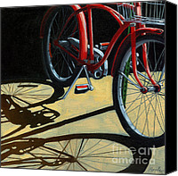 Linda Apple Canvas Prints - Old Red Classic - bike painting Canvas Print by Linda Apple