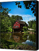 Old Houses Canvas Prints - Old Red Grist Mill Canvas Print by Colleen Kammerer