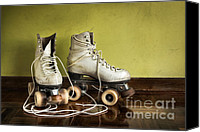 Old Wall Canvas Prints - Old Roller-Skates Canvas Print by Carlos Caetano