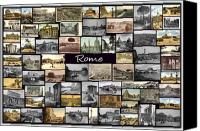 Stadium Design Canvas Prints - Old Rome Collage Canvas Print by Janos Kovac