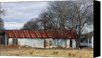 Rural Texas Canvas Prints - Old Rural Metal Building Canvas Print by Linda Phelps