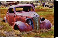 Antique Automobiles Photo Canvas Prints - Old rusty car Bodie Ghost Town Canvas Print by Garry Gay