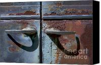 Door Handles Canvas Prints - Old Rusty Plymouth Door Handles with Shadows Canvas Print by Warren Sarle