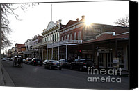 Horse Carriage Canvas Prints - Old Sacramento California In Partial Silhouette . 7D11716 Canvas Print by Wingsdomain Art and Photography